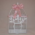 pink and white butterfly display cage.