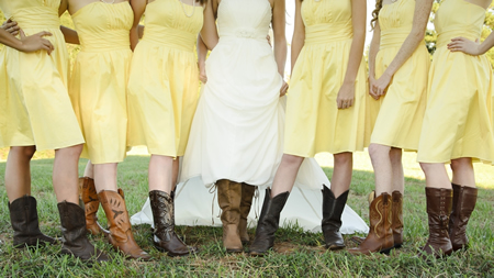 Cowboy boots and butterflies at houston Texas wedding